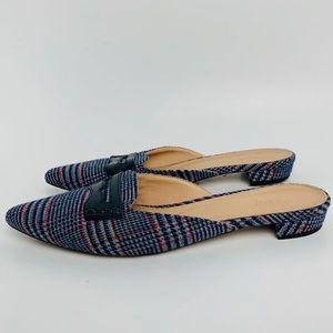 J. Crew Shoes - J. Crew tweed plaid slip on closed toe mules
